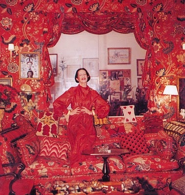 """""""All my life I've pursued the perfect red. I can never get painters to mix it for me. It's exactly as if I'd said, 'I want Rococo with a spot of Gothic in it and a bit of Buddhist temple'"""" - Diana Vreeland (room by Billy Baldwin)."""