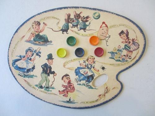 Vintage Toy Water Color Palette Paint Set with Nursey Rhyme Motif | eBay