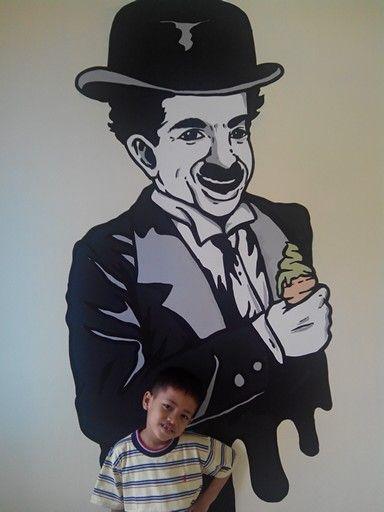 Charlie Chalpin Wall Painting Desain