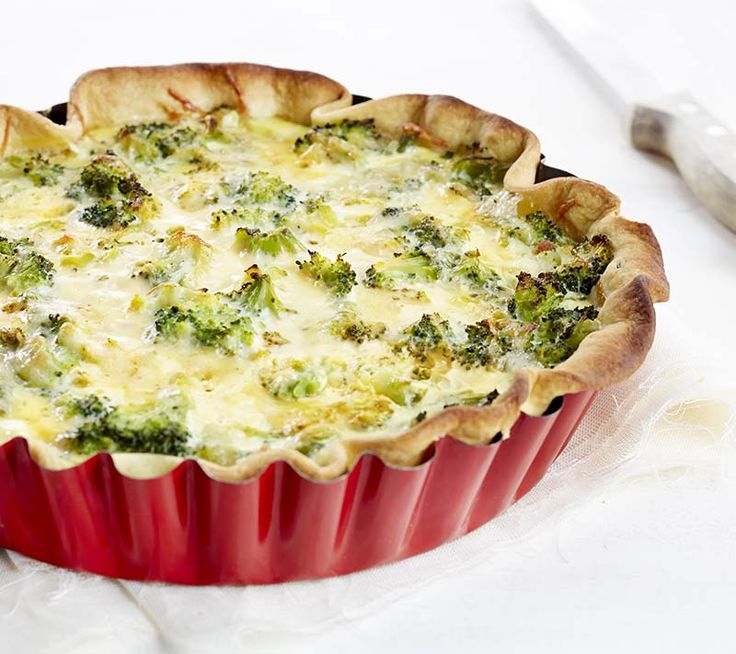 Quiche met gerookte forel en broccoli