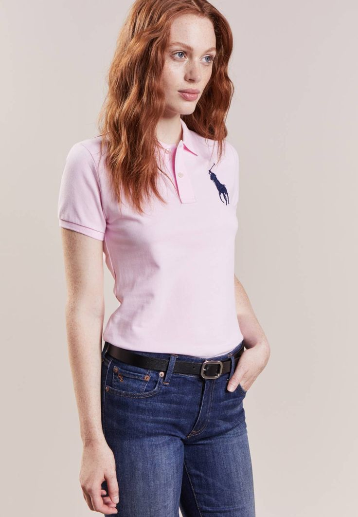 """Polo Ralph Lauren. Polo shirt - country club pink/navy. Our model's height:Our model is 69.5 """" tall and is wearing size S. Fit:small. Outer fabric material:100% cotton. Care instructions:machine wash at 30°C,Machine wash on gentle cycle. Length:normal. ..."""