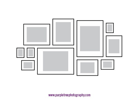 This page has a great collection of ideas for hanging pictures in groups!