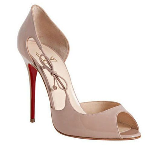 Christian Louboutin Delico 100mm Patent Nude � Red Bottom ShoesPatent  Leather PumpsPeep Toe ...