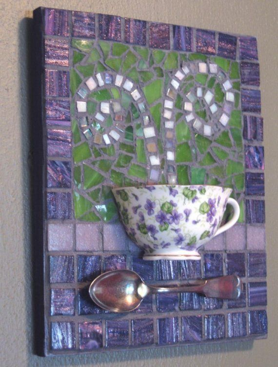 Violet+Teacup+Mosaic+Wall+Art+by+MashedPotatoMosaics+on+Etsy