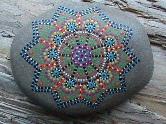 Hand Painted/Beach Stone/Mandala/Lake Erie by TheLakeshoreStore, $15.00