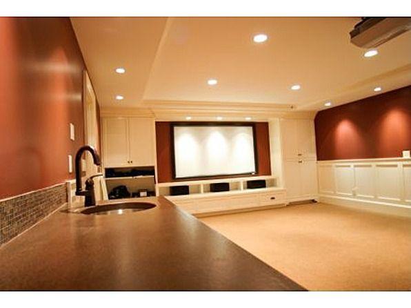 Basement Media Room With Bar