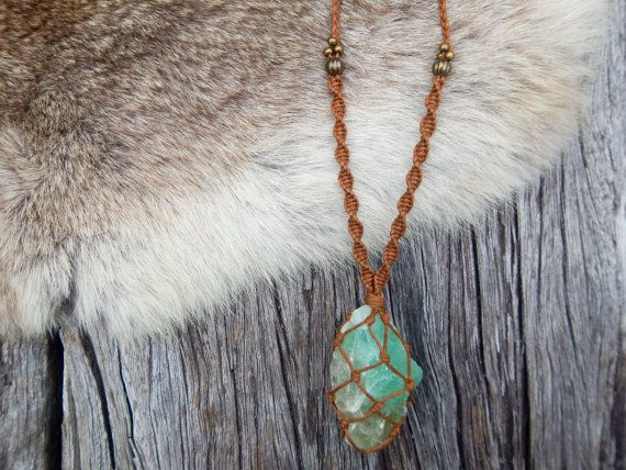 Raw Green Calcite Crystal Macrame Wrapped Necklace.