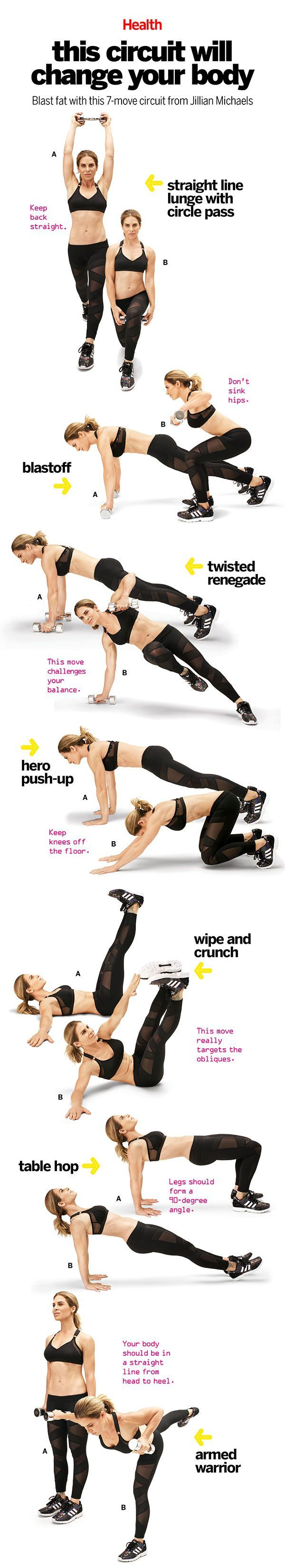 A Pinterest-friendly version of the 7 move circuit that will change your body by Jillian Michaels+