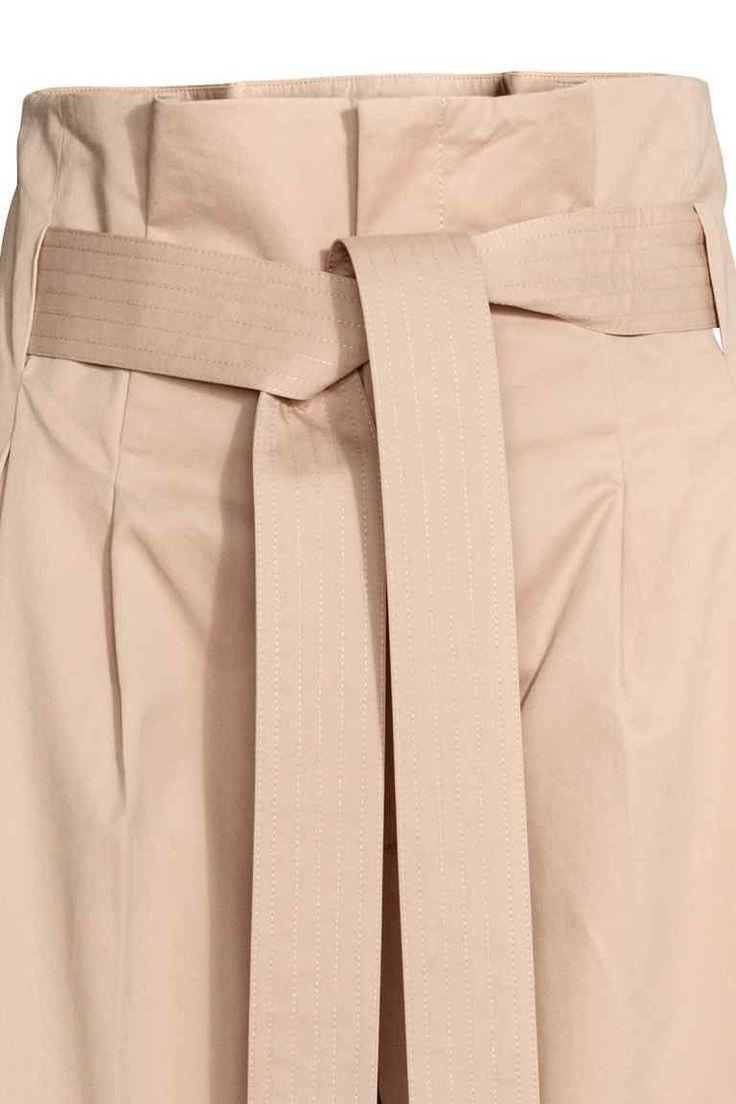 Vide bukser med bælte - Beige - Ladies | H&M DK
