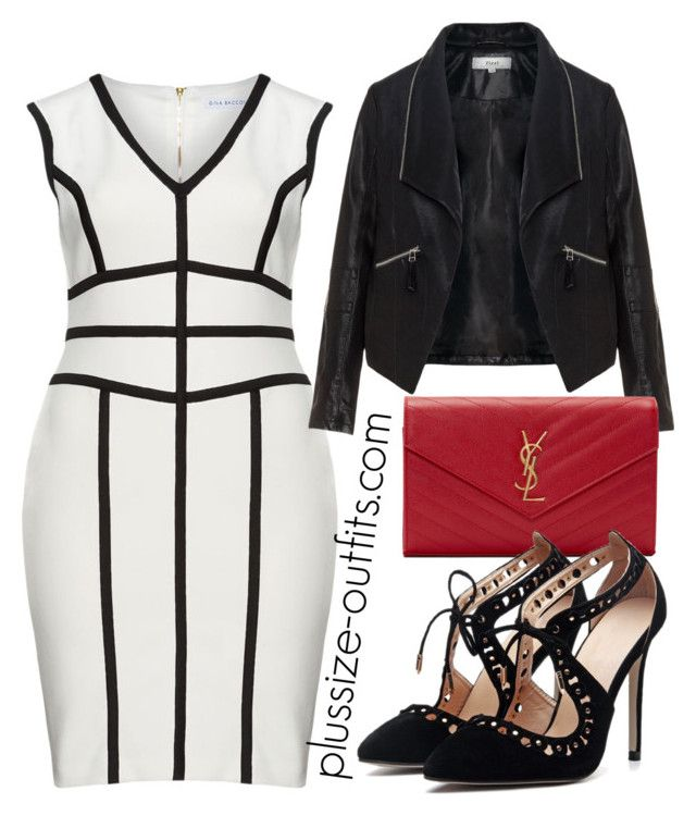 plus size black and white by xwtiko on Polyvore featuring Gina Bacconi, Zizzi and Yves Saint Laurent