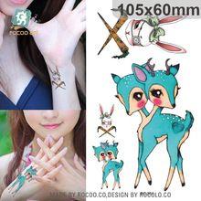 Harajuku водонепроницаемый временные татуировки для женщин прекрасный цвет кролика олень дизайн флэш-тату стикер бесплатная доставка RC2261(China (Mainland))