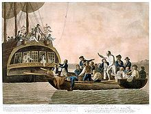 The mutineers turning Bligh and part of the officers and crew adrift from the Bounty, 29 April 1789