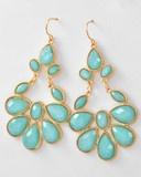 Dangle Flower Earrings-Aqua