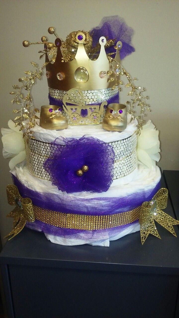 Purple and gold princess diaper cake