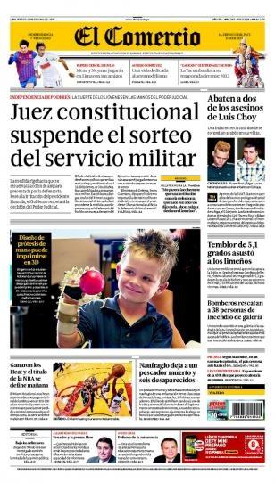 MIÉRCOLES 19 de JUNIO de 2013  (PORTADA DE EL COMERCIO)