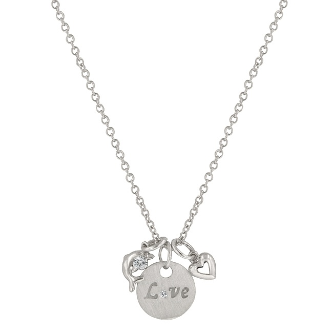 Love and Heart Necklace with Round Cut Clear CZ with Love Script and Heart Charms in Silver Tone.