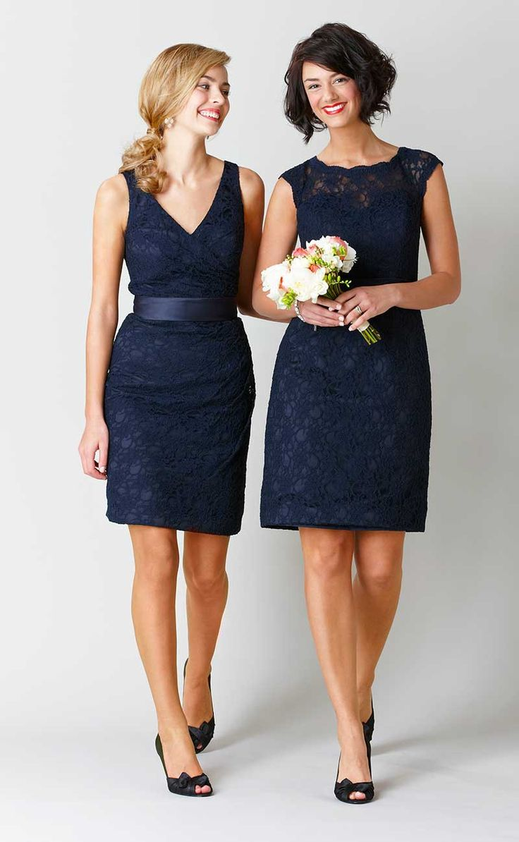 Kennedy Blue Bridesmaid Dress Harper. A gorgeous knee-length, lace dress with a keyhole back. | Kennedy Blue