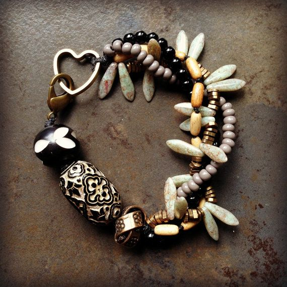 Neutrals+Multi+Strand+Bracelet+by+LoreleiEurtoJewelry+on+Etsy