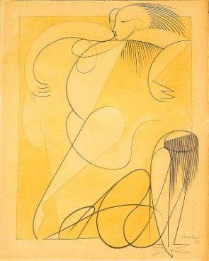 Desenho de Almada Negreiros, sem título, técnica mista sobre papel,1940.