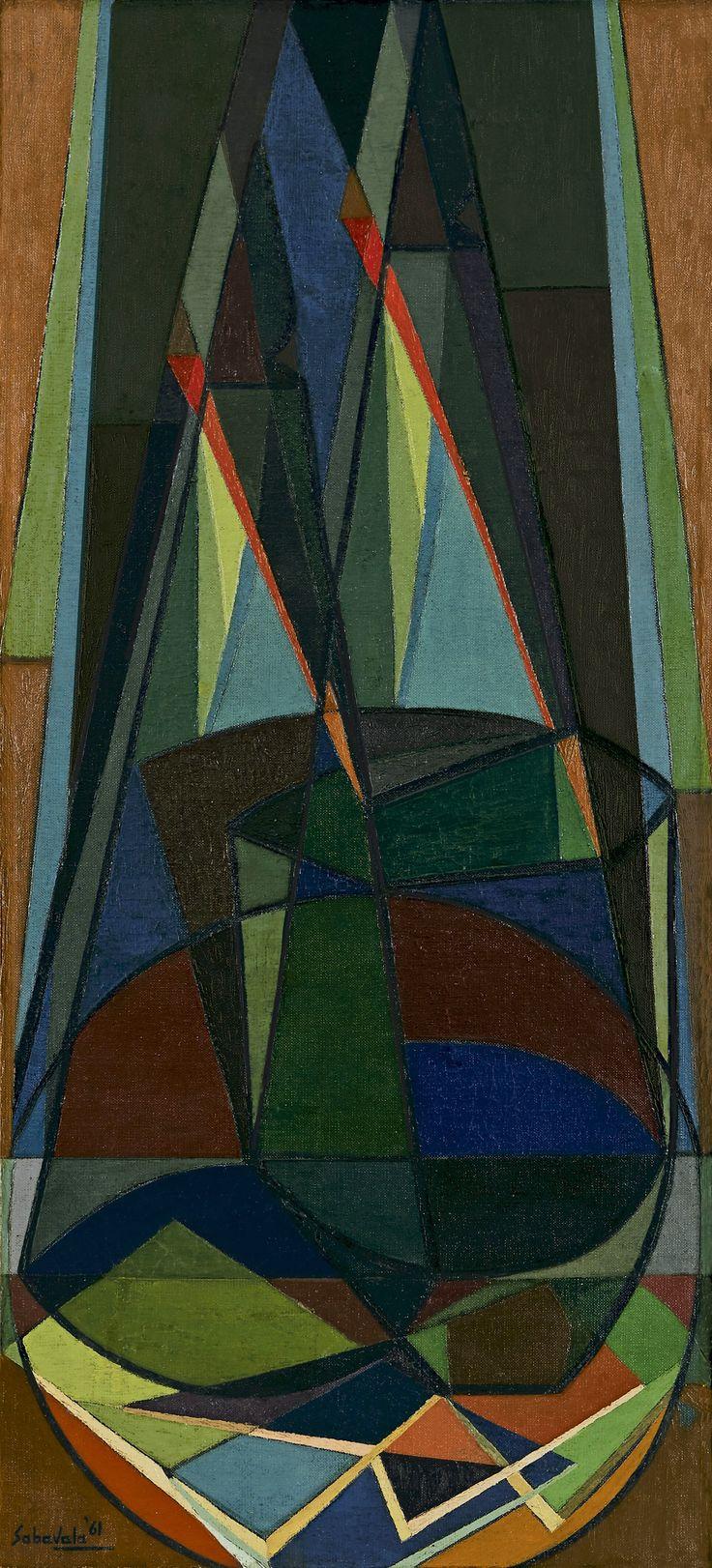 Jehangir Sabavala Medium: Oil on canvas Year: 1961 Size: 42 x 19 in.