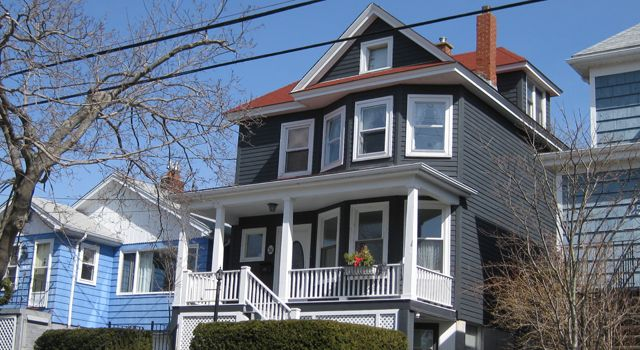 Charcoal Grey Siding Red Roof