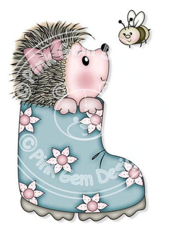 Digi Штамп Hedgy с Bee - День рождения, Еж, День Матери, поздравительные открытки