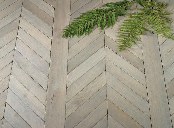 """Fougeres"" French Oak chevron-parquet wood floors; Francois & Co"