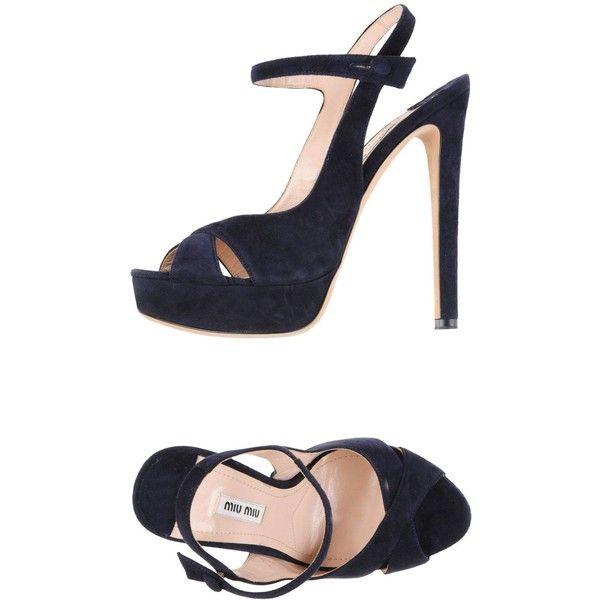 Miu Miu Sandals (£490) ❤ liked on Polyvore featuring shoes, sandals, dark blue, miu miu shoes, heels stilettos, dark blue sandals, round cap and stiletto heel shoes