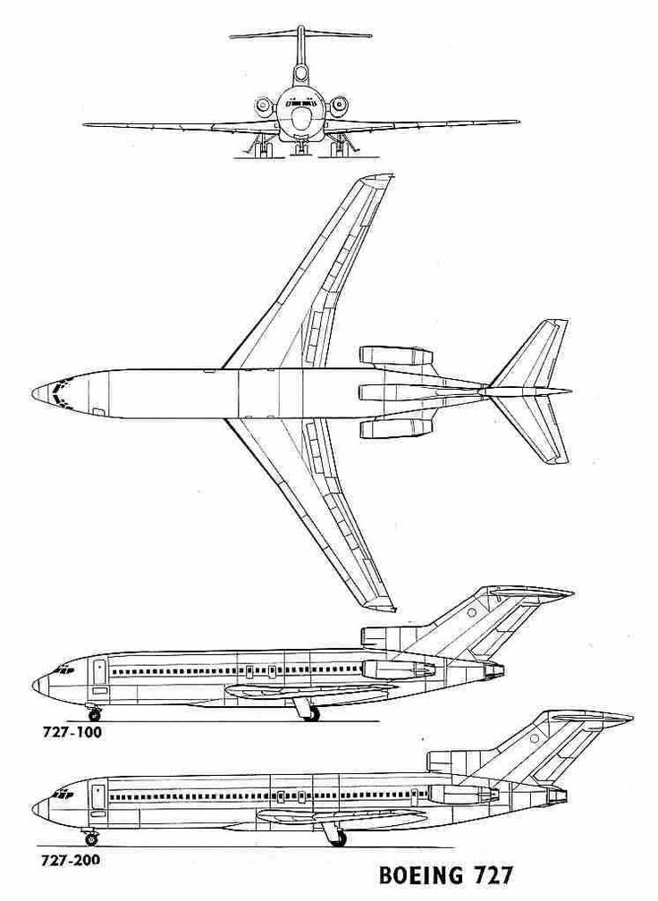 Boeing 727 3 Side View - Boeing 727-100 - Boeing 727-200