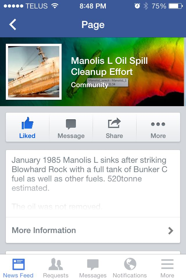 https://www.facebook.com/pages/Manolis-L-Oil-Spill-Cleanup-Effort/666787843372584, #oilspill, #twillingate, #newfoundland, #canada, #help needed to protest, #environmental disaster, #government not doing nothing, #ducks unlimited, #manolis L paper boat sinks in 1985 and oil is leaking into ocean, # world voices need to pressure for clean up, # potential environmental disaster pending
