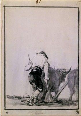 LO MISMO - ALBUM E - 1814-17 - PINCEL CON AGUADA GRIS Y NEGRA - 261x187 mm. Author: GOYA, FRANCISCO DE. Location: MUSEO DEL LOUVRE-DIBUJOS, PARIS, FRANCE.  - stock photo