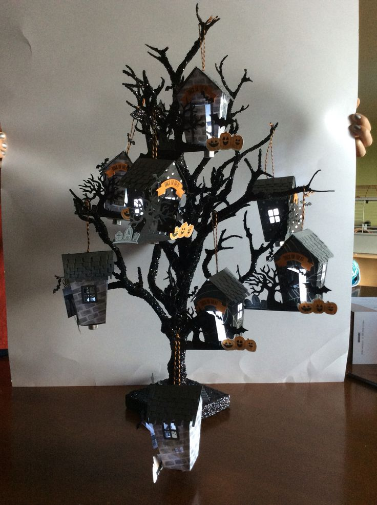 Haunted house lighted ornaments. Stampin' Up! Home Sweet Home die.