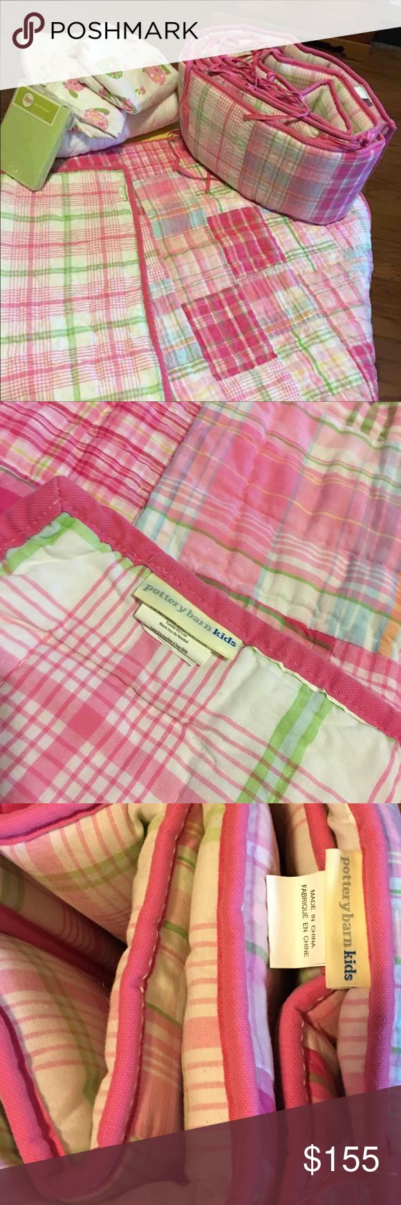 Pottery Barn Crib Bedding DISCONTINUED pink madras crib bedding.  Includes quilt, bumper, and two crib sheets. Also included is a mattress protector and target matching sheet-not pottery barn. ALL EXCELLENT CONDITION.   I am so including a Pottery Barn crib skirt.  Skirt had a slight tear from getting caught in mattress support spring.  Tear is not visible. Other