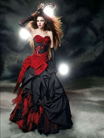 Red and Black Gothic Wedding Dress - More expensive but might be worth it....