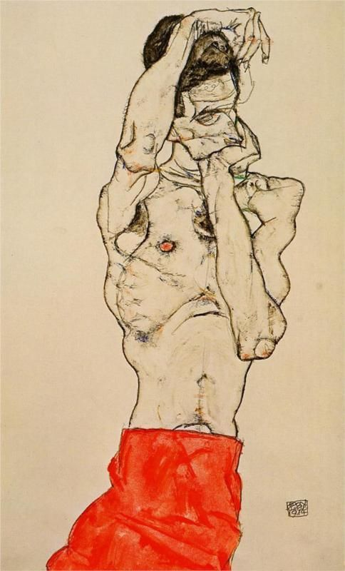 Egon Schiele - Standing Male Nude with a Red Loincloth, 1914