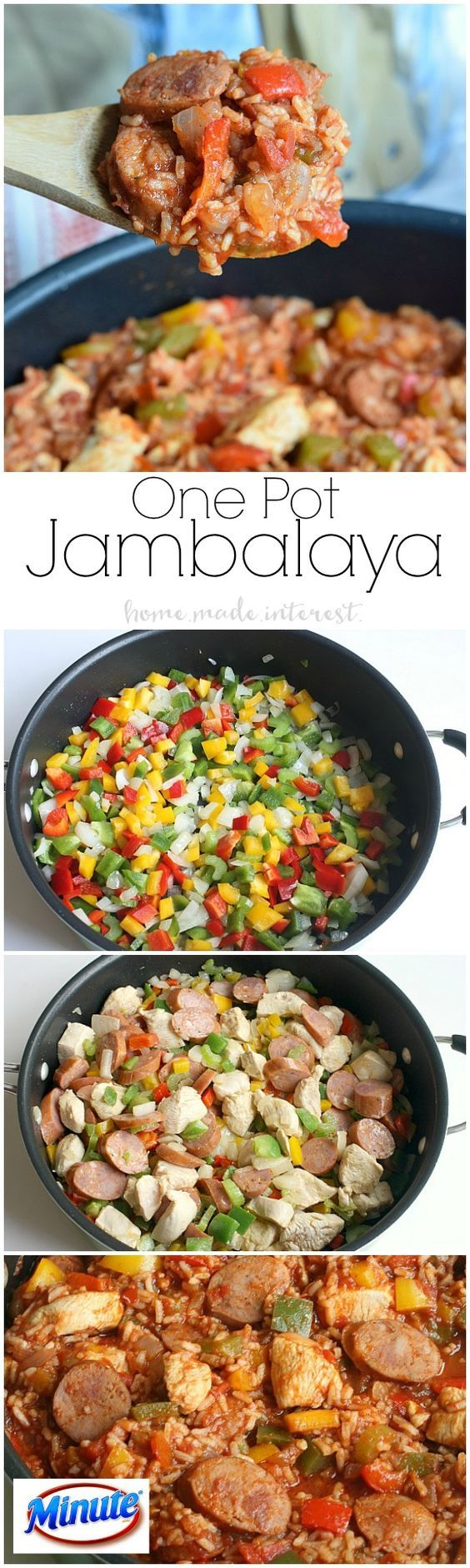 This Jambalaya recipe only takes one pot and 20 minutes! It is an easy weeknight recipe that the family will love. MealsWithMinute | AD