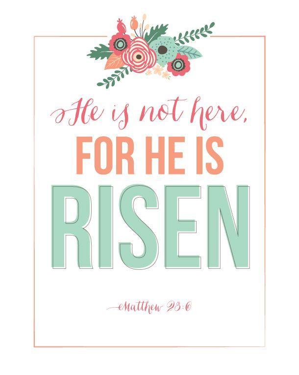 Sunday Encouragement: He Is Risen Printable | landeelu.com