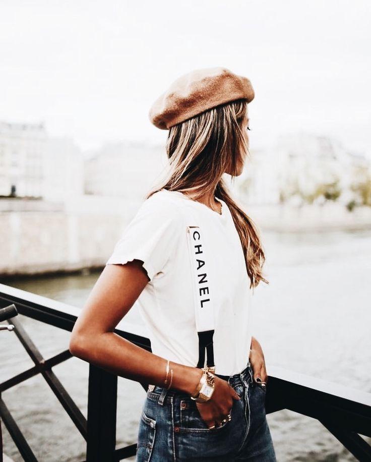 Pinterest // SoSimplySarah, Sincerely Jules, Julie Sarinana, beige beret, nude beret, white tshirt, suspenders