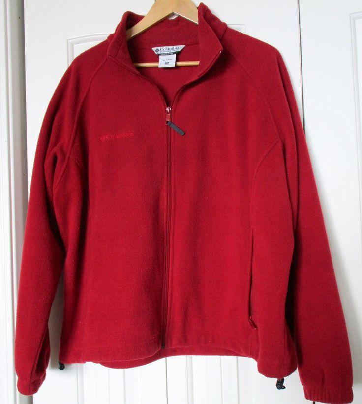 Women's 1X Red Fleece Columbia Coat Jacket Full Zip #Columbia #FleeceJacket