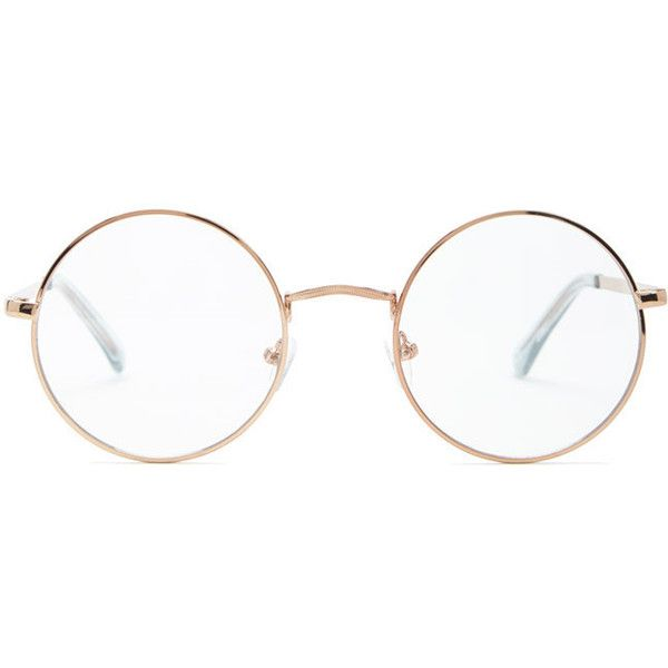 Forever 21 Metal Round Readers  Rose Gold/clear (49 SEK) ❤ liked on Polyvore featuring accessories, eyewear, eyeglasses, round eyeglasses, metal frame glasses, metal frame eyeglasses, round eye glasses and metal glasses