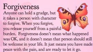 Forgiveness DOES NOT mean it is okay!  It merely means, I will not grant you the power to continue hurting me!
