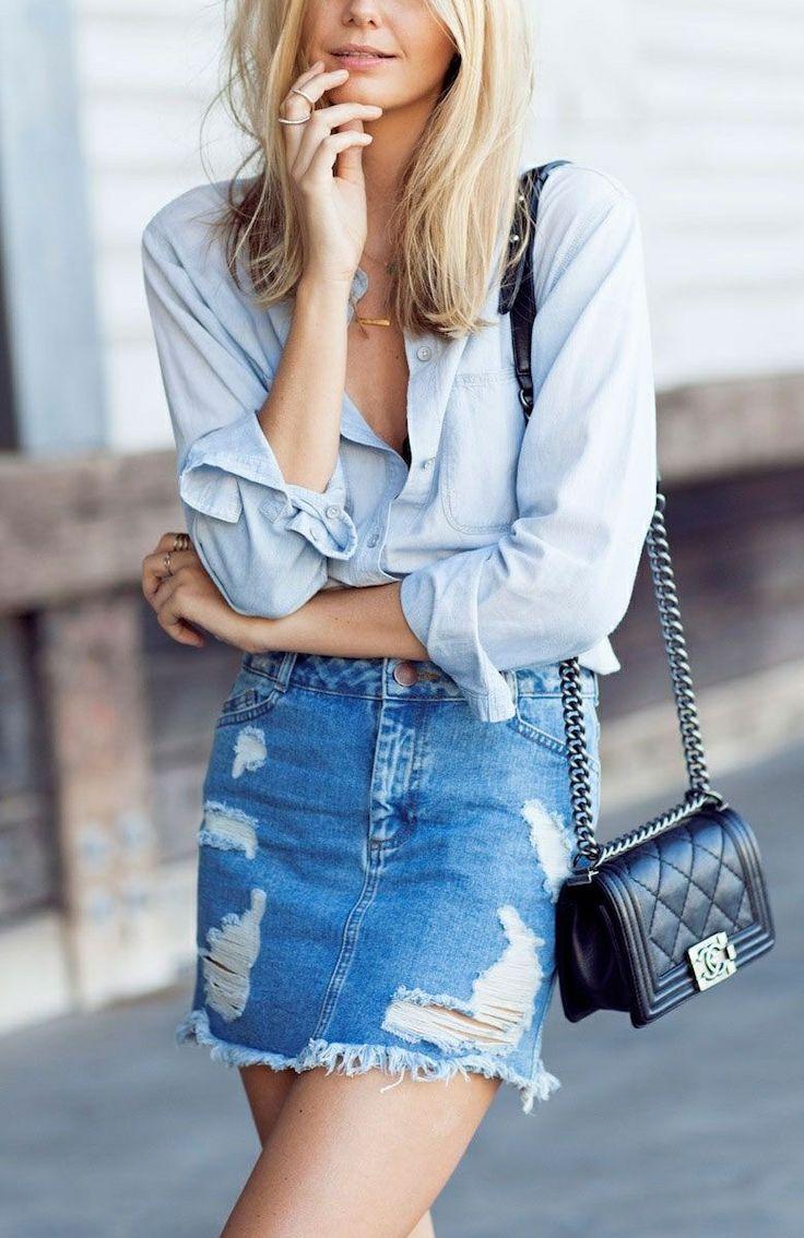 Best 25  Ripped denim skirts ideas on Pinterest | Jean skirt style ...