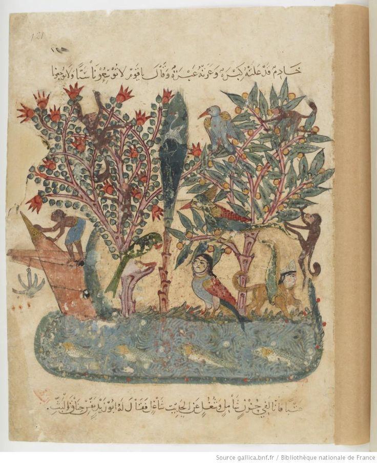 Folio 121 Recto: maqama 39. The Mysterious Island