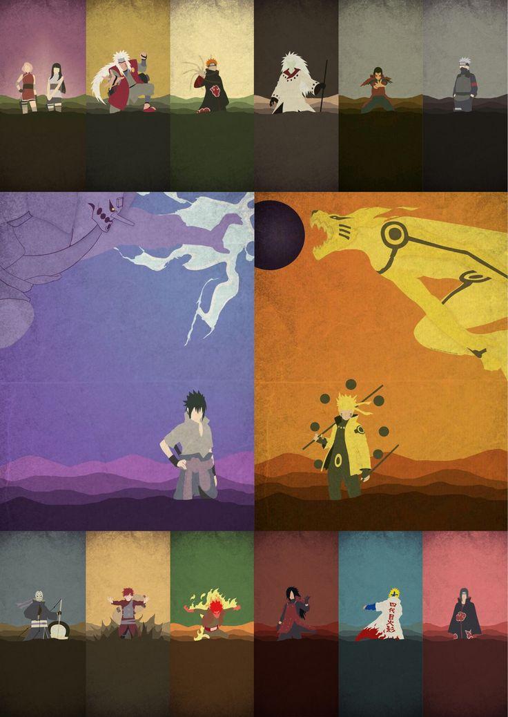 Sakura, Hinata, Jiraiya, Pain, Madara, Hashirama, Kakashi, Sasuke, Naruto, Obito, Garaa, Guy, Madara (again), Minato, and Itachi