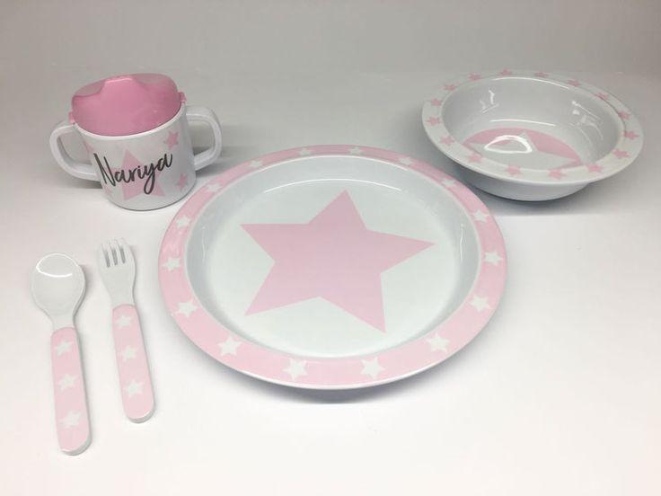 Pimpalou Melamin Kindergeschirr-Set Sterne rosa/weiß 5-teilig personalisierbar
