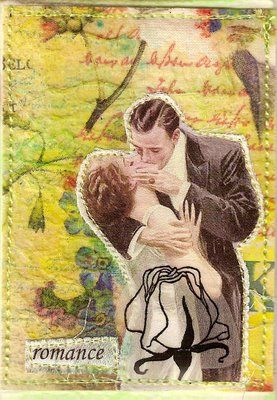 The perfect kissFabrics Cards, Trade Cards, Vintage Fabrics, French Kisses, Vintage Romances, Perfect Kisses, Romances Atc, Fabrics Romances, Vintage Love