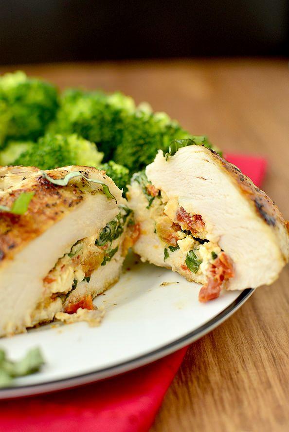 Sun-Dried Tomato and Basil Stuffed Chicken Breasts  | iowagirleats.com