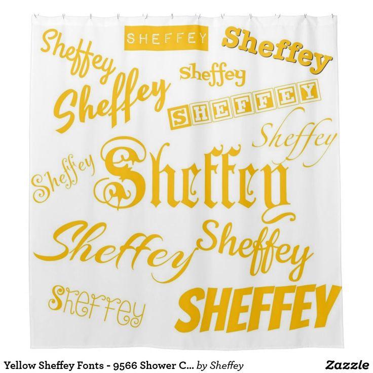 Yellow Sheffey Fonts - 9566 Shower Curtain