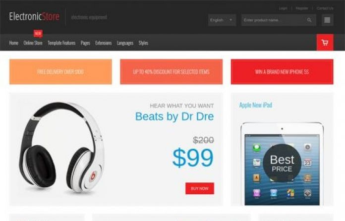 Modern, Responsive #Virtuemart #Joomla 3 #template for a professional online #store selling #Electronics accessories.
