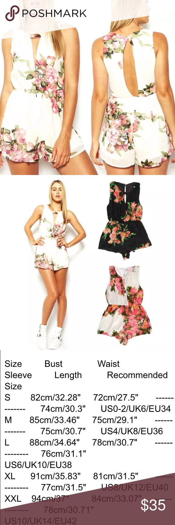 The Joan Crawford romper Gorgeous chiffon romper with lining inside. Has open back. Romper. Floral V Neck  Backless Jumpsuit Romper. Comes in black or white.                                                                    ⭐️please refer to size chart when ordering.        ⭐️please let me know when ordering if you would like it in black or white Pants Jumpsuits & Rompers